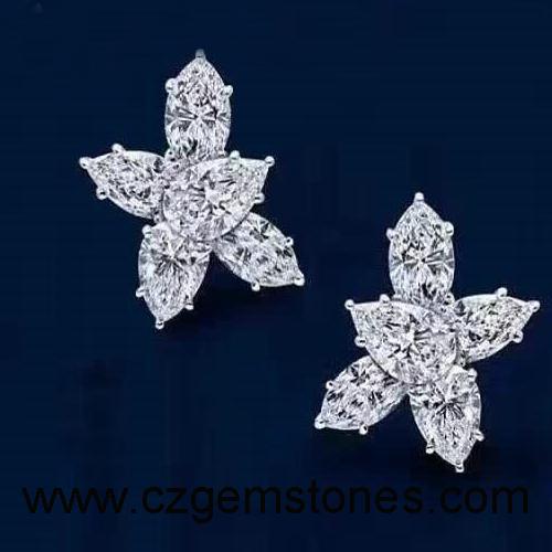 white moissanite earrings stud